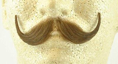 Light Brown Handlebar Moustache 100% Human Hair Handle Bar Costume (Brown Moustache)