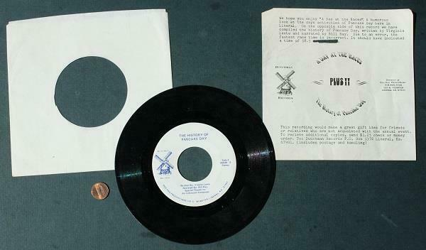 1980s Era Liberal Kansas Pancake Day Races 45 rpm record & history sheet set!
