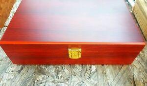 Large African Rosewood Finish Wood Gift Box Jewelry Trinket Box
