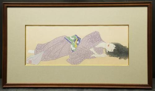 KAYAMA MATAZO JAPANESE PAINTING Woodblock Print Beauty AGED VINTAGE Framed