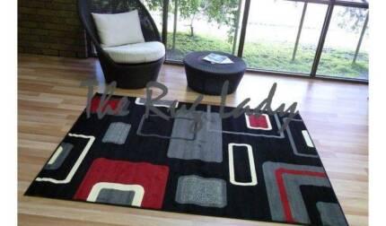 BRAND NEW!!!! Medium Abstract Black & Grey Modern Floor Rug