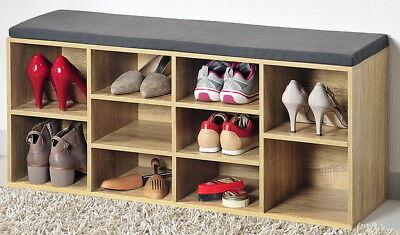 KESPER Schuhablage+Sitzbank Schuhschrank+Sitzkissen Schuhregal Schuh-Regal braun