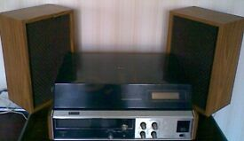 1970's Sanyo Record Player, Radio and Eight Track Player & 8 track cassettes tapes.