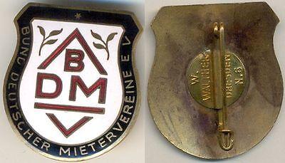 Bund Deutscher Mietervereine BDMV, Abzeichen emailiert, W. Walther Dresden N. 6