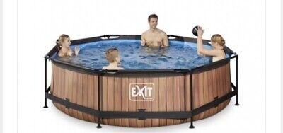 EXIT Wood pool ø300x76cm with filter pump - brown Framed pool Round...