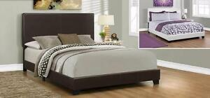 $249- BED – QUEEN SIZE / DARK BROWN LEATHER-LOOK