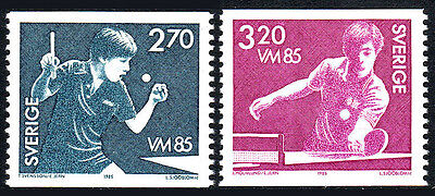Sweden 1530-1531, MNH. World Table Tennis championships, 1985