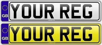 Pair Standard GB Euro Number Plates with BORDER 100%  MOT Compliant - FREE POST