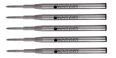 5 - Monteverde Ballpoint Montblanc Style Pen Refill - Gel Ink Bold Point Black