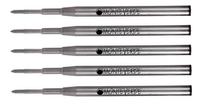 5 - MONTEVERDE Ballpoint Montblanc Style Pen Refill - GEL INK, BOLD POINT, BLACK