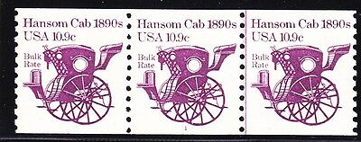 Us 1904 10 9  Hansom Cab Pnc Strip Of 3 Plate  1 Line