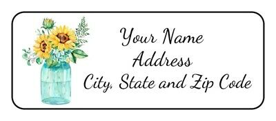 30 Sunflowers Return Address Labelspersonalizedflowersmason Jarstickerstags