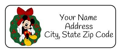 30 Personalized Mickey Mouse Christmas Return Address Labels Stickers Tags Gifts