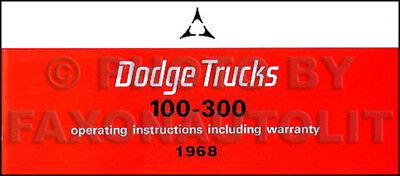 1968 Dodge Owner Manual Pickup Truck Power Wagon Van D100-D300 W100-WM300 A100