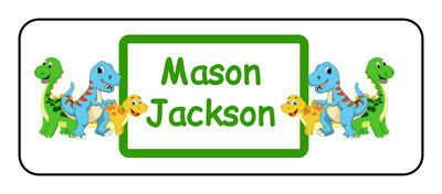 30 personalized dinosaur name tag stickers, tags, school supply labels