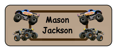 30 personalized monster truck name tag stickers, tags, school supply labels