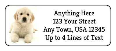 60 White Golden Retriever Puppy Dog GLOSSY Photo Quality Return Address Labels