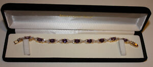Costume jewellery:  lady's 'purple amethyst-topaz' bracelet