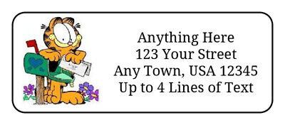 60 Garfield The Cat On Mailbox GLOSSY Photo Quality Return Address Labels - $4.99
