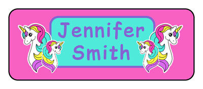30 personalized unicorn name tag stickers, tags, school supply labels