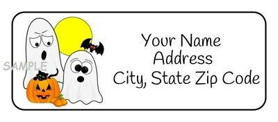 30 Personalized Cute Halloween Address Labels Stickers Tags Cat Pumpkin Favors