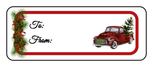 30 Christmas Holiday gift tag labels stickers, old red truck