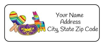 30 Personalized Fiesta Return Address Labels Tags Stickers Favors