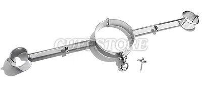 NEW Bondage Rigid Metal Stock Neck Yoke Wrist Straight Spreader Bar - Large