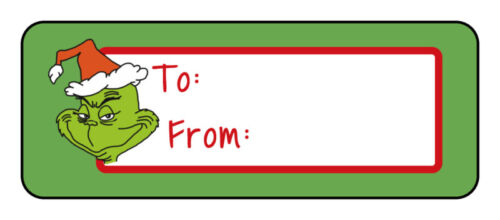 30 Christmas Holiday gift tag labels stickers, Green