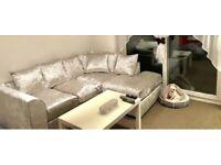 Silver Crushed Velvet Corner sofa - Left & Right Side Facing 2+3 Seater Corner Sofa Set - Brand New