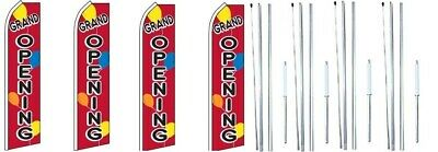 Grand Opening Balloons Swooper Flag With Complete Hybrid Pole Set- 4 Pack