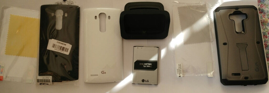 Mobile Accessories LG G4in Luton, BedfordshireGumtree - For sale LG G4 Accessories Original black leather back case, original white plastic case, heavy duty tank armor hard tough case, original Li ion 3000mAh battery, phone cradle and x2 screen covers. New phone so no longer need. Thanks!