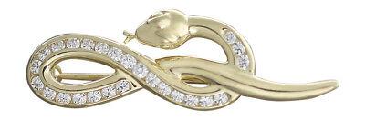 Brosche echt Gold 14 kt Schlange Gold 585 mit Zirkonias super Goldbrosche