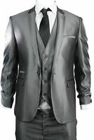 ITALIAN MADE SHINY SUIT XXL XL  NEW EUROPEAN CUT TO THE NECK NEW