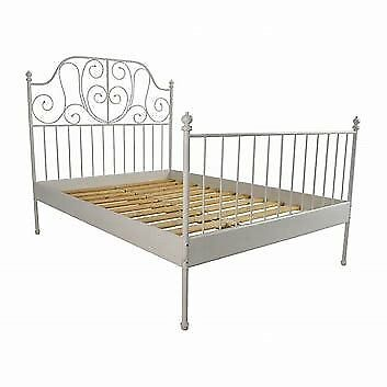 IKEA double bed frame Leirvik style metal in white ebony colour | in ...