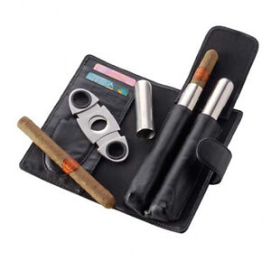 Leather cigar case gift set stainless steel cutter and cigar protector tubes