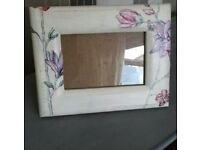 Photo Frame White / Aged with Decoupage Pink Red Purple Flowers