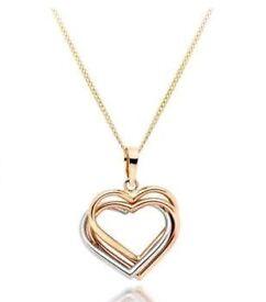 Beaverbrooks 9ct Tri-Tone Gold Hearts