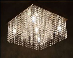 Crystal chandelier light -flushmount close-to-ceiling