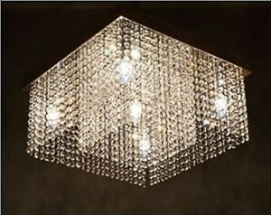 Flushmount crystal chandelier light
