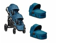 Teal Baby Jogger City Select Double Tandem Pram Buggy TRAVEL SYSTEM - INCLUDES EVERTHING YOU NEED!