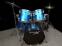 Basix drum kit with upgraded cymbals, skins & hardware $550