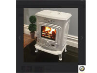 Beautiful Henley multi fuel burning stoves cast iron enamelled Aran model