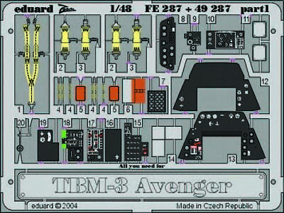 Eduard Accessories Fe287 - 1:48 Tbm-3 Avenger - Ätzsatz - Neu