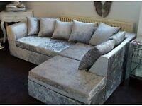 Silver Crushed Velvet Corner Sofa Right Hand
