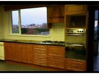Kitchen units, washing machine, oven and hob