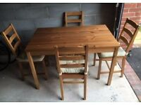 Ikea Solid Wood Table & 4 Chairs FREE DELIVERY 0686