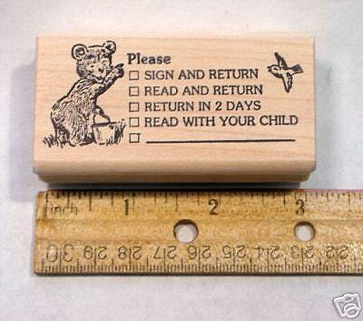 Rubber Stamp Please Sign (Please Sign Teacher's Rubber Stamp, wood mounted)