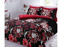 Brand new floral red / black kinkg size full bedding set