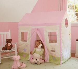 Pink/white Pottery Barn wood-frame playhouse
